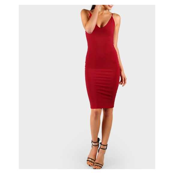 Deep Red Spaghetti Straps Bodycon Cami Midi Dress 611449391
